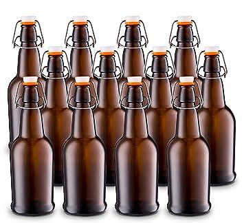 Casa cerveza botella de cerveza de vidrio con alambre de fácil swing tapa de plástico y