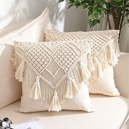 Throw Pillow Covers, Macrame Cushion Case, Woven Boho Cushion Cover for Bed Sofa Couch Bench Car Home Decor, Comfy Square Pillow Cases with Tassels,