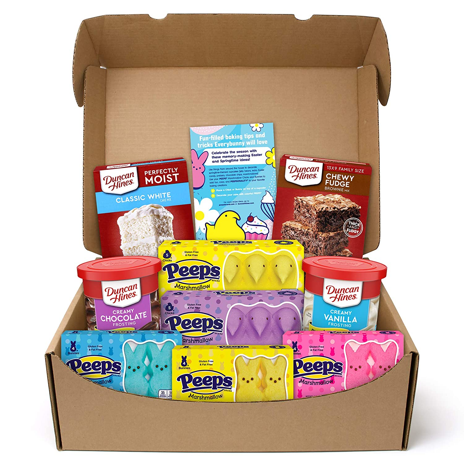 Duncan Hines and PEEPS Spring Baking Kit With Cake Mix, Brownie Mix, Frostings, PEEPS Brand Marshmallow Chicks and Bunnies