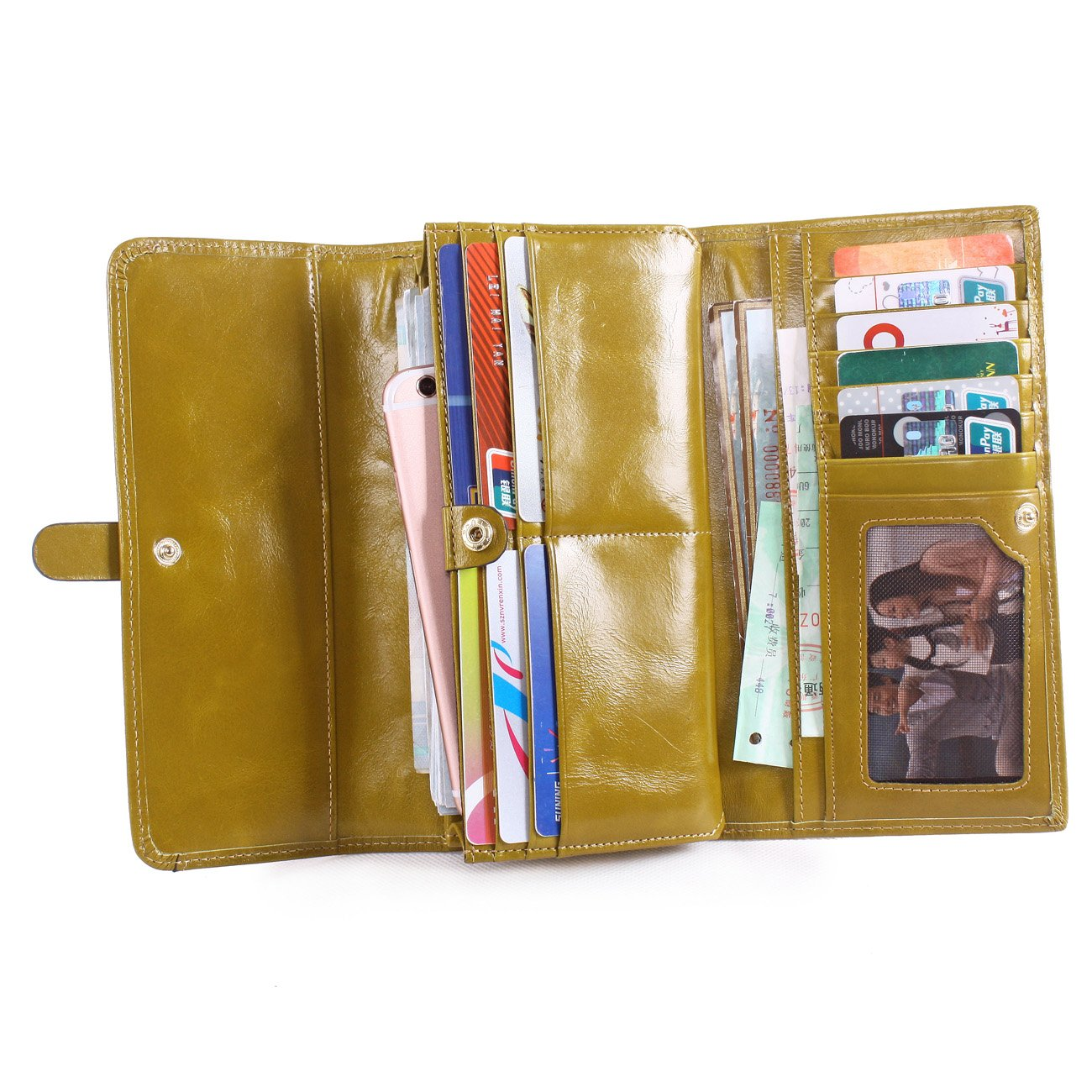 003d80ad8d0a Galleon - Obosoyo Women's Large Capacity Luxury Wax Genuine Leather Wallet  With Zipper Pocket Card Case Purse Apple Green