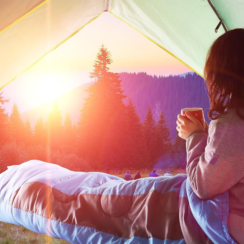 SONGMICS Saco de Dormir Momia para Adultos Relleno de Fibra sintética para Acampada Senderismo con Bolsa de compresión 220 x 80/55 cm GSB01UG: Amazon.es: ...