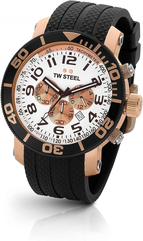 TW Steel Diver TW-77 - Reloj Unisex de Cuarzo, Correa de Goma Color Negro