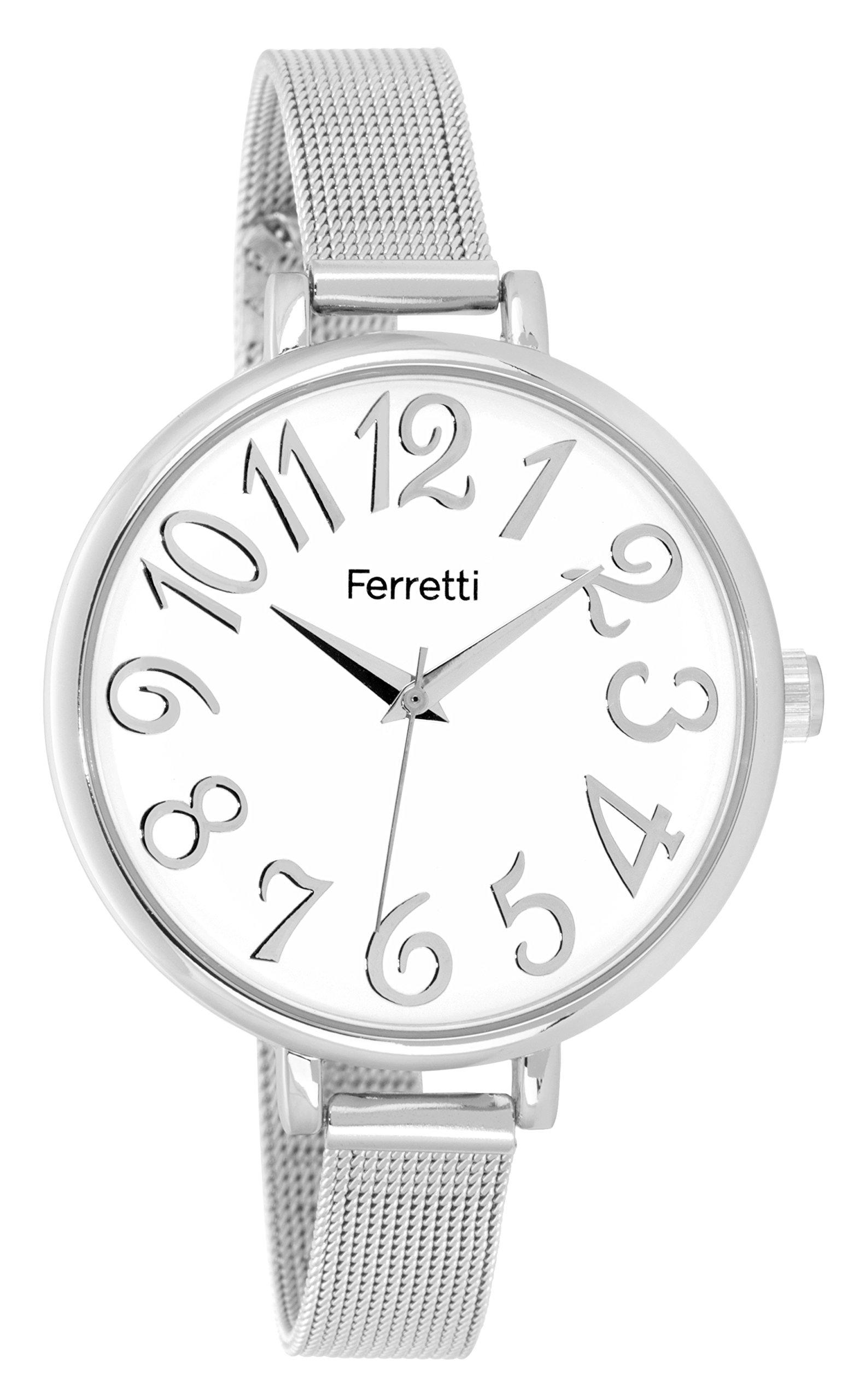 Ferretti Women|Elegant Silver Stainless-steel Mesh Watch|FT15702