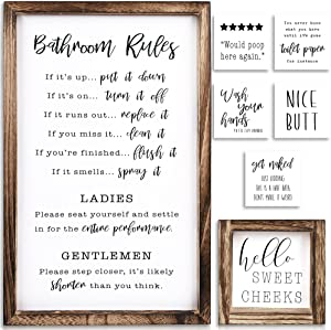 KIBAGA Farmhouse Bathroom Wall Decor Set of 2 - Funny Bathroom Signs with Rules and 8 Interchangeable Sayings - Rustic Farmhouse Accessories are Perfect to Beautify Your Restroom