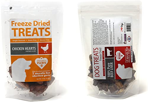 Project Paws Chicken Hearts Beef Liver Freeze Dried Treats for Dogs and Cats Variety Pack