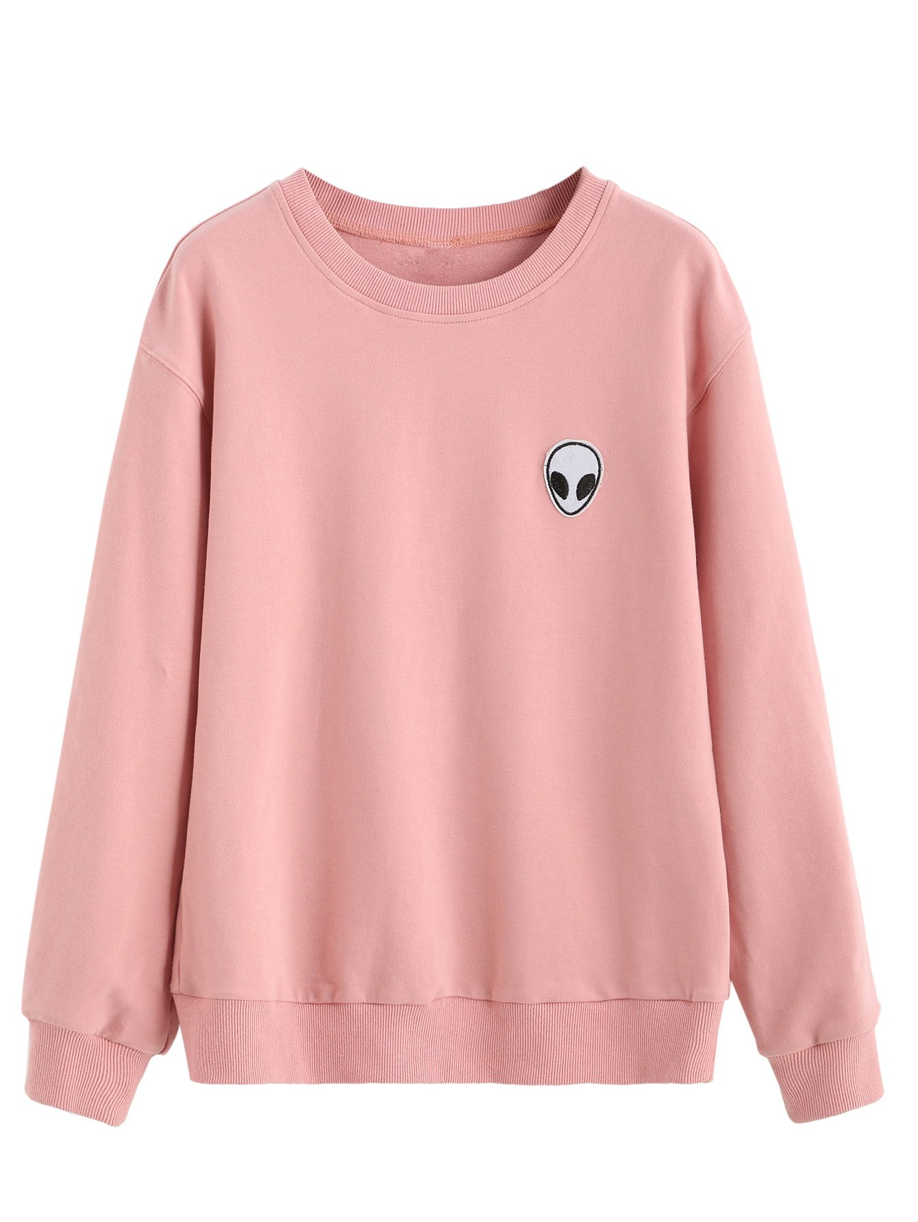 SweatyRocks Womens Casual Long Sleeve Pullover Sweatshirt Alien Patch Shirt Tops L