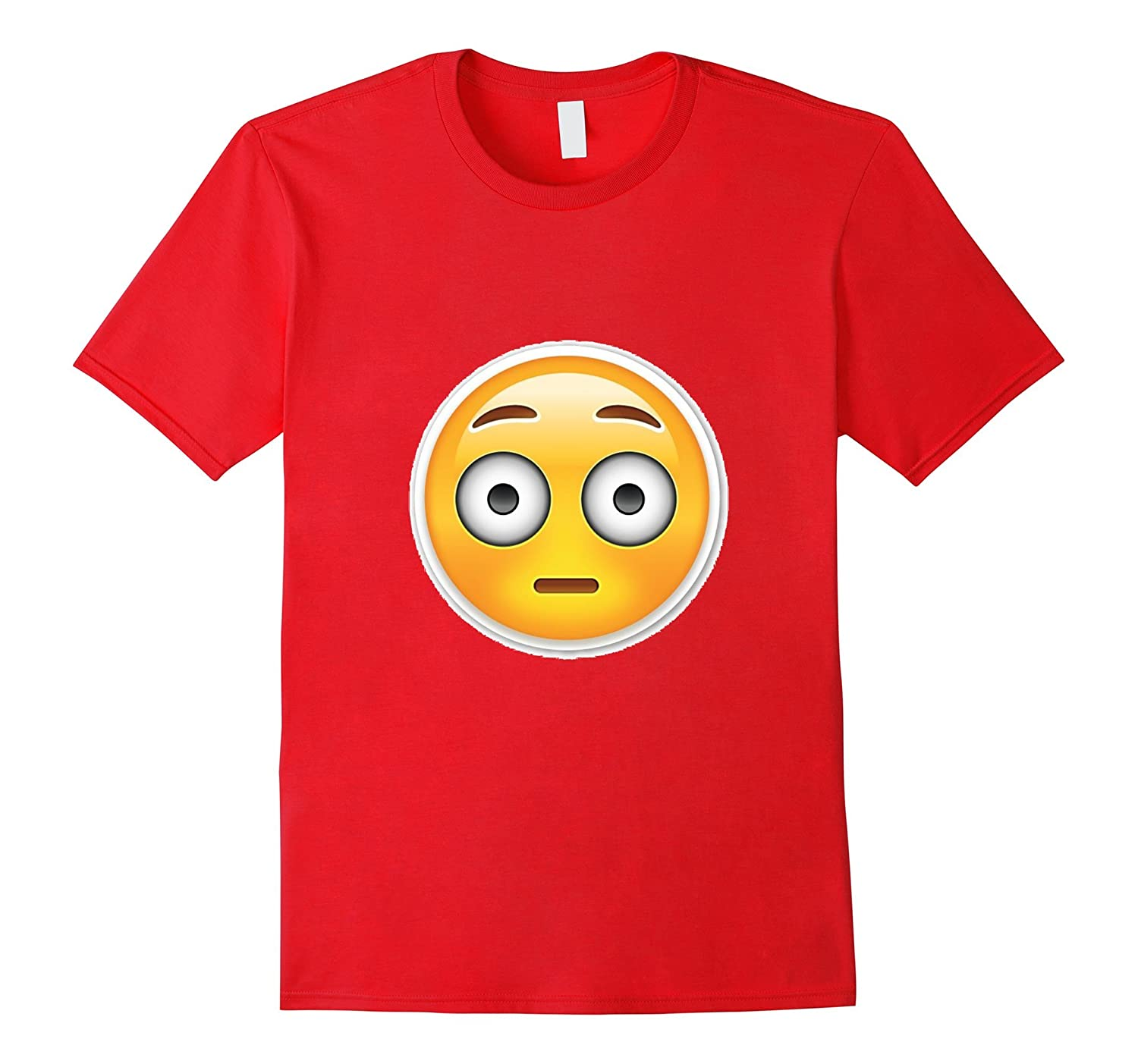 Surprised Emoji T-Shirt Emoticon Eyes Wide Embarrassed Red-CL