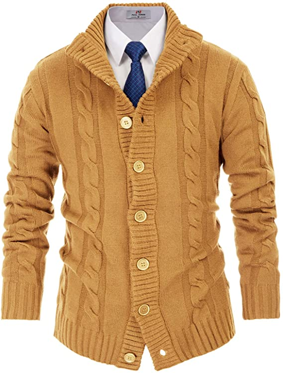 Men's Vintage Sweaters, Retro Jumpers 1920s to 1980s PJ PAUL JONES Mens Stand Collar Cardigan Sweaters Button Down Cable Knitted Sweater $34.89 AT vintagedancer.com
