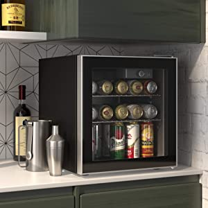 Cloud Mountain 60 Can or 17 Bottles Beverage Refrigerator or Wine Cooler with Glass Door for Beer, soda or Wine - Mini Fridge Used in the Room, Office or Bar - Drink Freezer for Party