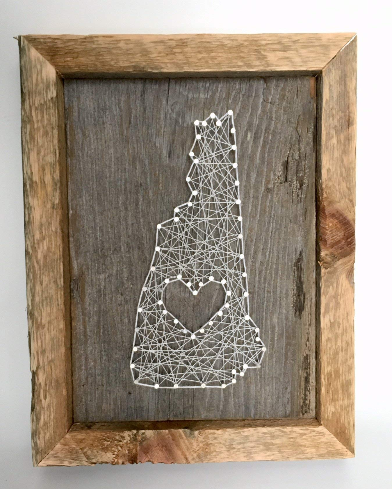 Framed New Hampshire love reclaimed wooden string art sign - A unique and romantic Wedding, Anniversary, House warming, Birthday Valentne's Day and Christmas gift by Nail it Art (Image #1)