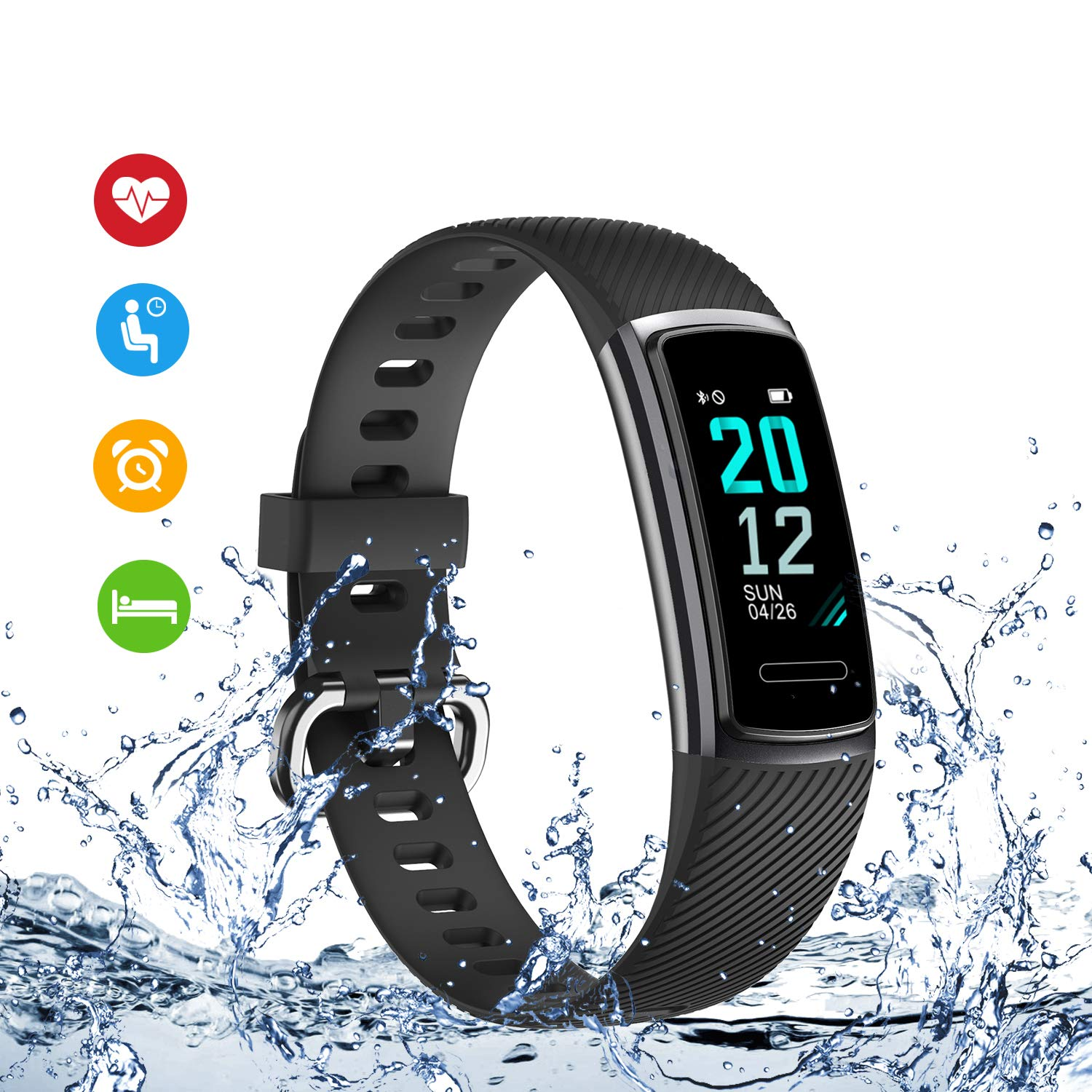 TICTIKY Fitness Tracker,Activity Trackers Watch with Heart Rate Monitor,Waterproof Smart Fitness Band with Step Counter,Calorie Counter,Sleep Monitor,Pedometer Watch for Kids Women and Men Black