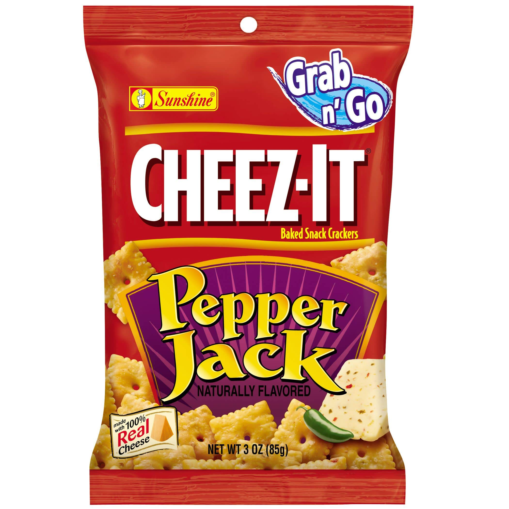 CheezIt Grab n' Go Pepper Jack Baked Snack Crackers, 3 Ounce, 36 Count by Cheez-It (Image #1)