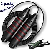 MALACHI Jump Rope,Tangle-Free Ball Bearing Speed Rope Cable Skipping Rope,Adjustable Jumping Rope Workout with Memory Foam Handles for Women Men Kids-2 Pack