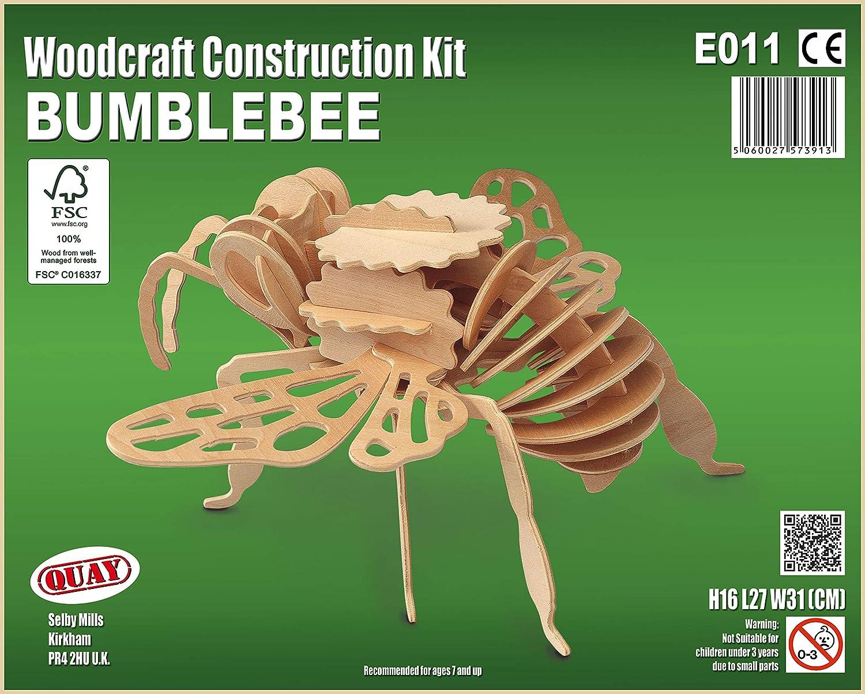 Woodcraft Construction Wooden 3D Model Kit E011 Age 7 plus Quay Bumblebee