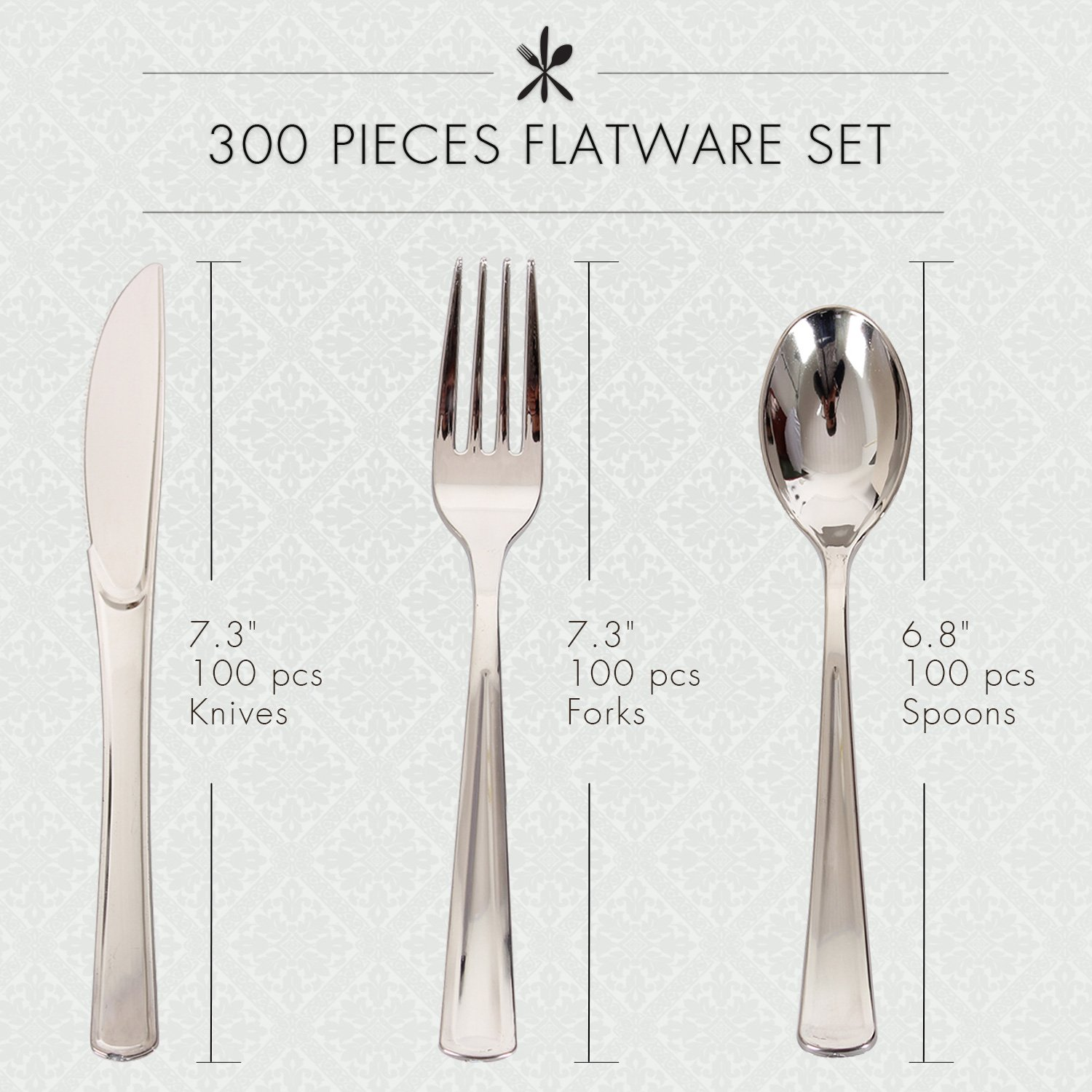 Excellent Designs Disposable Plastic Silverware Cutlery Set – 300 Pieces Flatware Set – 100 Forks, 100 Spoons, 100 Knives – Heavyweight Plastic Cutleries –– Ideal for Parties, Picnics, Restaurants