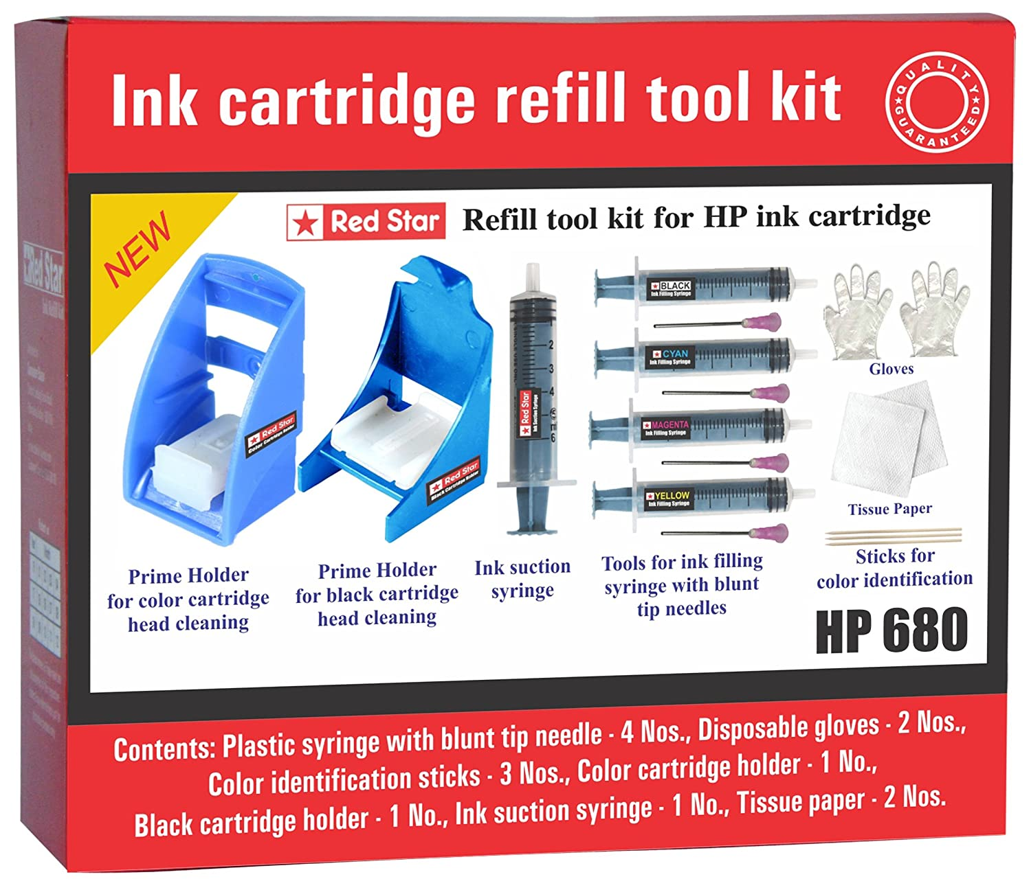 Red Star Ink Refill Tool Kit For Hp 680 Cartridge Filling And Tinta Black Color Original Head Cleaning Suction Priming Computers Accessories