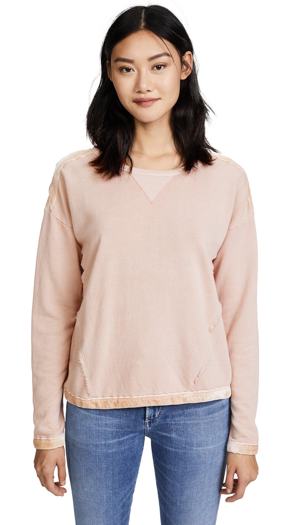 Splendid Women's Velvet Mixed Media Sweatshirt, Vintage Pink/Beige, M