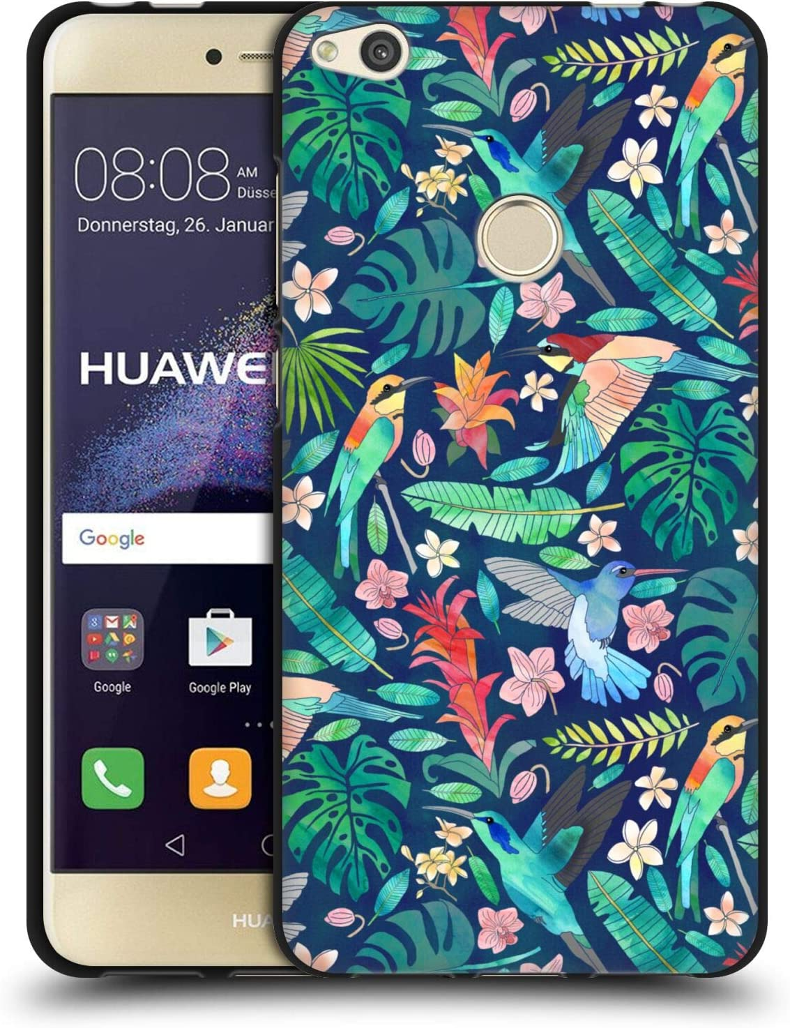 Head Case Designs Officially Licensed Tangerine-Tane Bohemian Birds Nature Art Black Soft Gel Case Compatible with Huawei P8 Lite (2017)