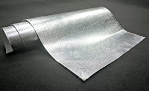 "Aluminum Heat Shield Protection with Fiberglass and Self-Adhesive Backing Heat Barrier 36""x 39"" (10 Sq. Ft)"
