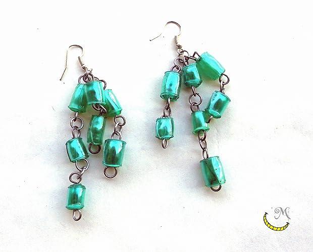 Pendientes de perlas de plastico reciclado. - pendientes colgantes verdes