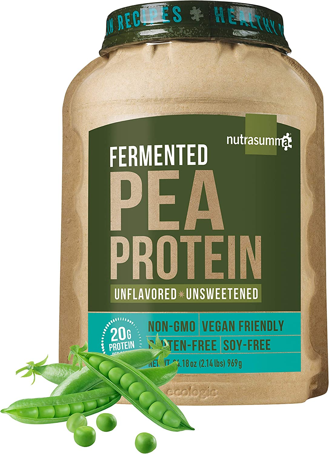 Nutrasumma 100 Plant Based Fermented Pea Protein Powder, Unflavored and Unsweetened, 2.14lbs – North American Sourced Peas – Vegan, Non-GMO, Gluten Soy Free, No Artificial Flavors and Colors
