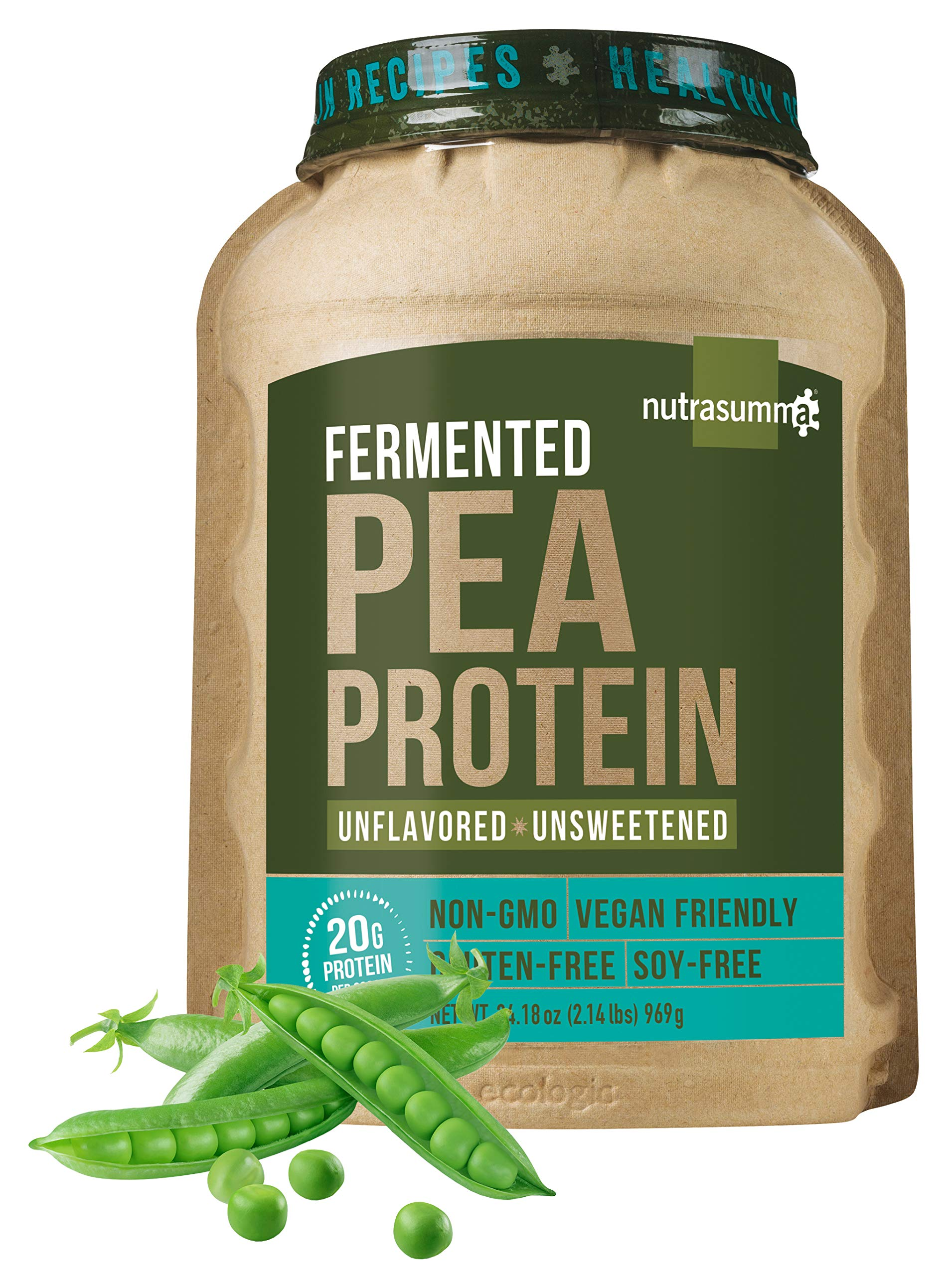 Nutrasumma 2LB 100% Plant Based Fermented Pea Protein Powder, Non-GMO, Gluten & Soy Free, No Artificial Flavors and Colors, Unflavored and Unsweetened by Nutrasumma