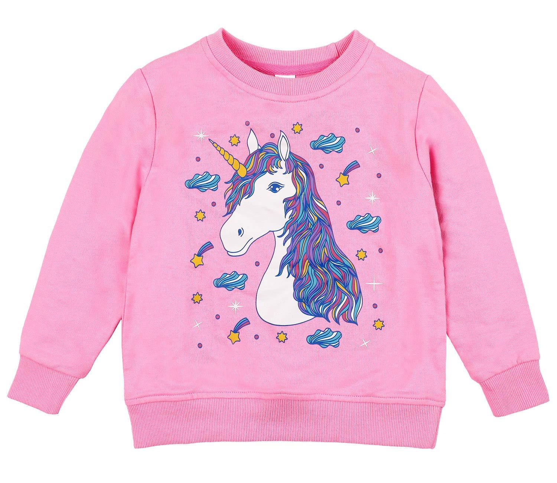 Sociala Girls Crew Neck Sweatshirt Cute Sweatshirts 100 Cotton Pink Licorne 5