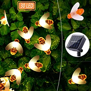 WINBOOM Solar BEE String Lights Outdoor,30LED 8 Modes Solar Powered Bees Fairy Lights,Waterproof Solar Led String Lights for Garden Yard Xmas Party Wedding Home Decorations(Warm White)