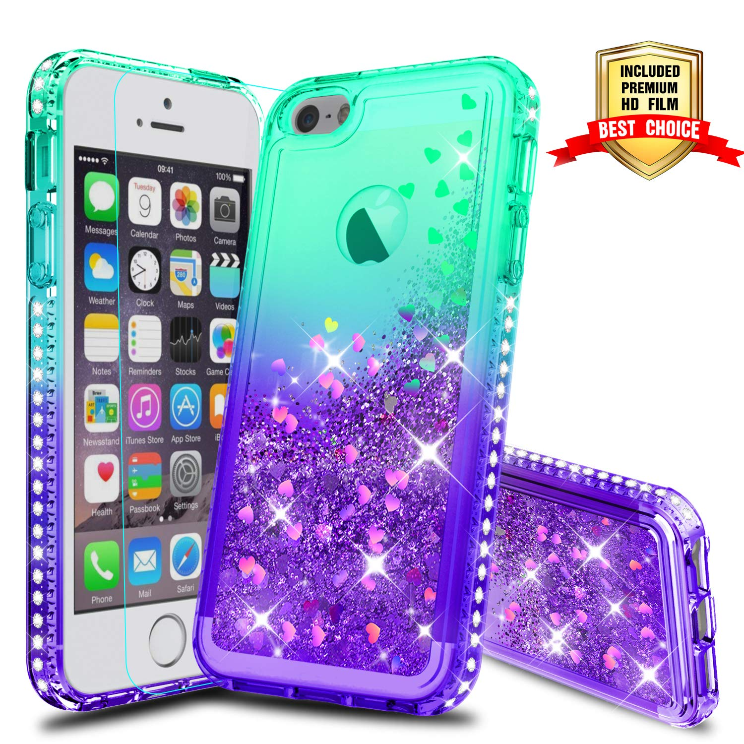 san francisco 658ea 62f9a iPhone 5S Case, iPhone SE Girly Cases with HD Screen Protector, Atump Fun  Glitter Liquid Sparkle Diamond Cute TPU Silicone Protective Phone Cover  Case ...