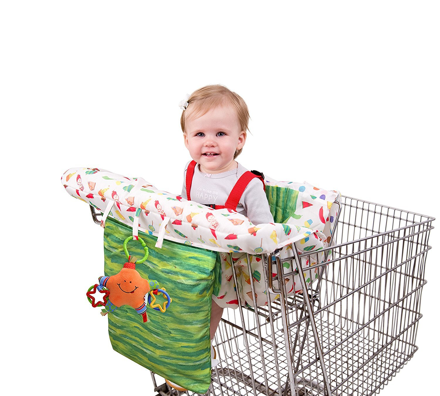 Eric Carle The Very Hungry Caterpillar Shopping Cart and Hi Chair Cover, Baby Cart Cover, Grocery Shopping Cart Seat Cover, Hi Chair Cushion, Safety Harness, Loops for Toys, Compact Storage Pouch, 70012