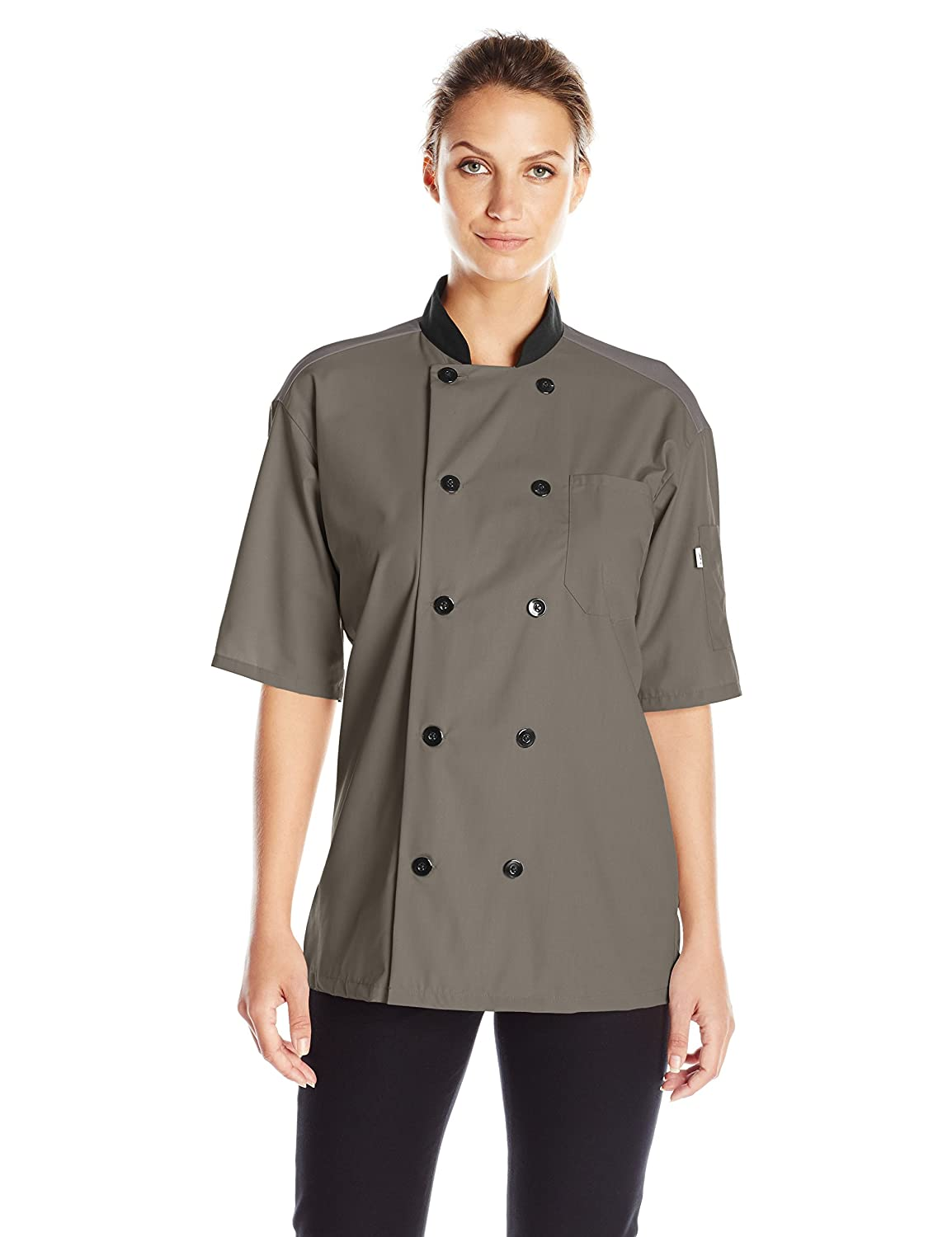 Uncommon Threads Womens Havana Chef Coat Ss Mesh Blk TRM 0494