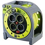 Enrouleur compact 4 prises 15 mètres NF - câble H05VV-F 3G1.5