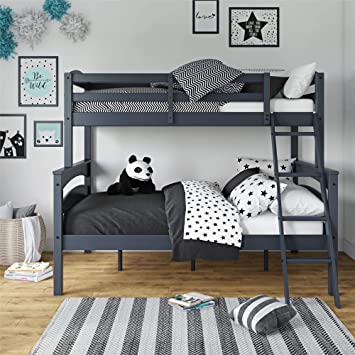 Amazon Com Dorel Living Brady Twin Over Full Solid Wood Kid S Bunk Bed With Ladder Gray Furniture Decor