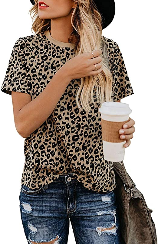 Womens Plus Size Animal Leopard Print Long Sleeve Boat Neck Blouse Tunic Top