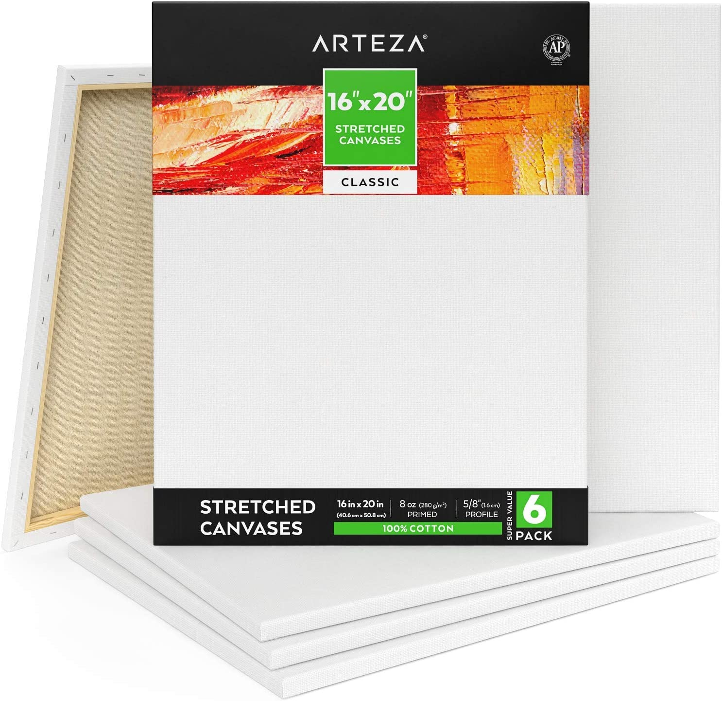 White Canvas 16 by 20 inch 5 Pack Stretched Canvas Value Pack Pack of 5