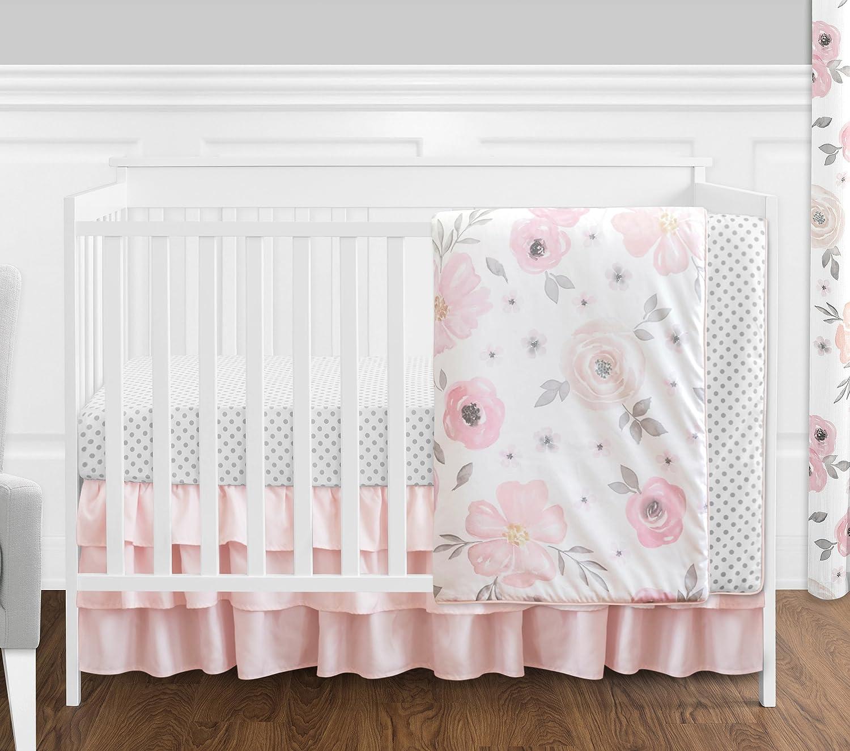 4 pc. Blush Pink, Grey and White Watercolor Floral Baby Girl Crib Bedding Set by Sweet Jojo Designs - Rose Flower Polka Dot