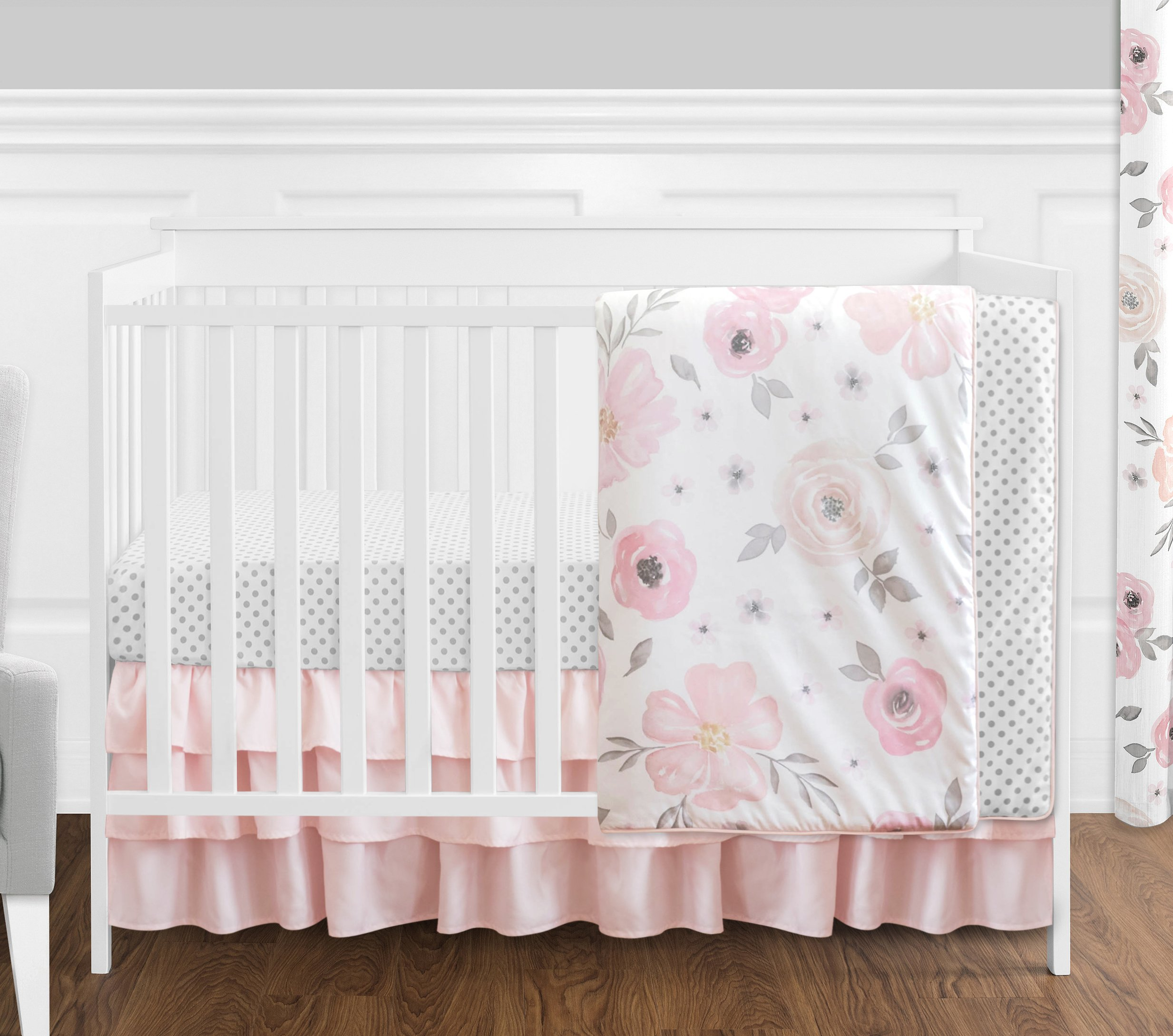 4 pc. Blush Pink, Grey and White Watercolor Floral Baby Girl Crib Bedding Set without Bumper by Sweet Jojo Designs - Rose Flower Polka Dot by Sweet Jojo Designs