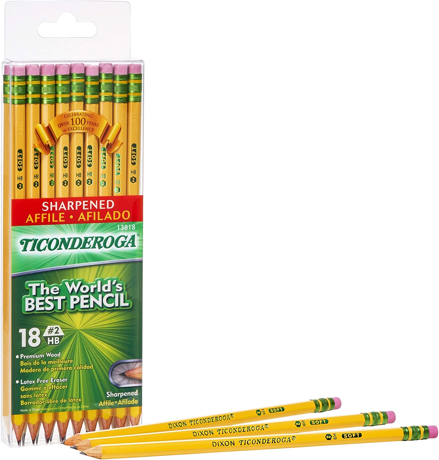 Wood-Cased #2 HB Soft TICONDEROGA Pencils 7 Yellow Pre-Sharpened with Eraser