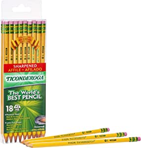 TICONDEROGA Pencils, Wood-Cased, Pre-Sharpened, Graphite #2 HB Soft, Yellow, 18-Pack (13818)