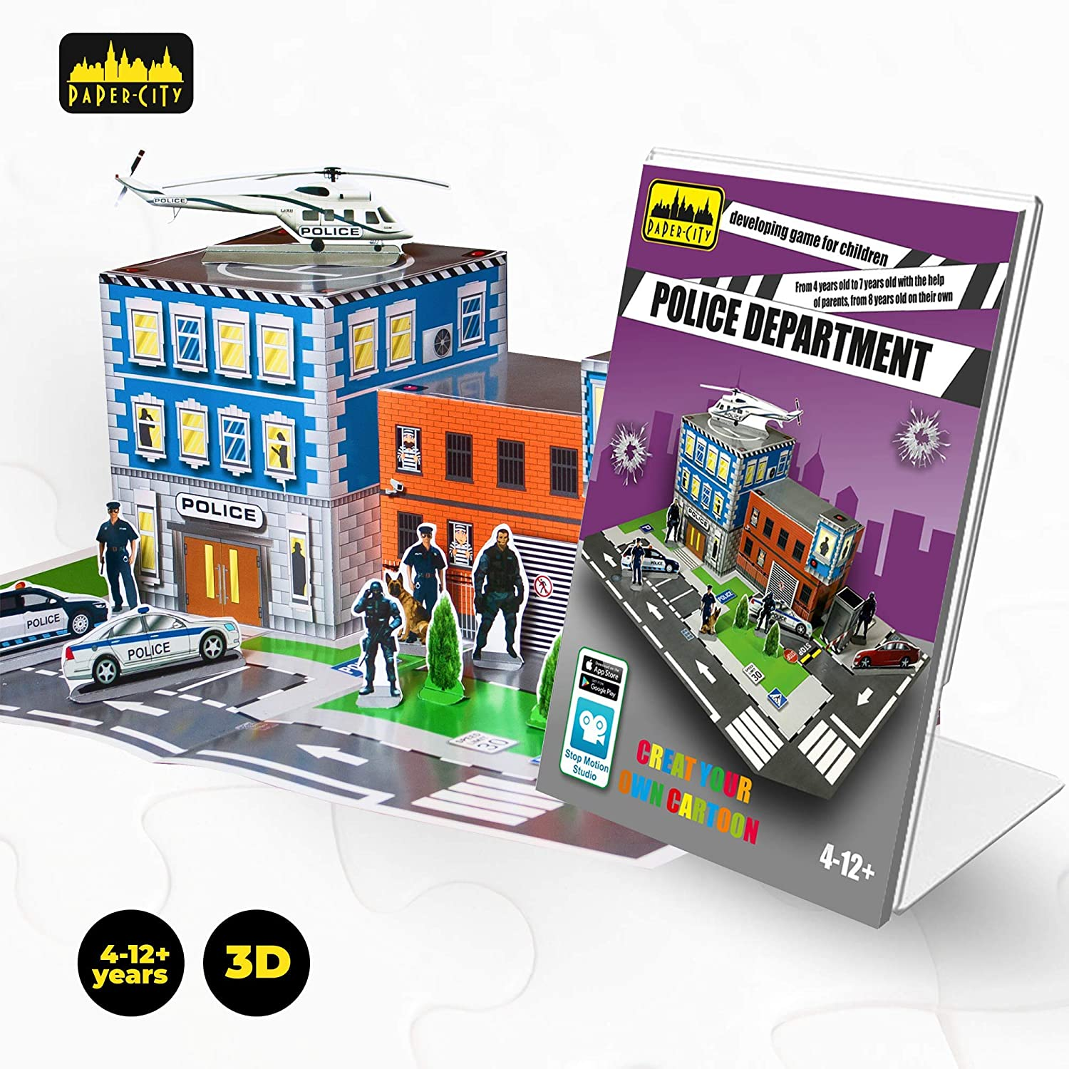 PAPER CITY Police Station Puzzle — DIY 3D Model Play KIT for Kids — Best  Family Arts and Crafts Activity — Best Toy Gift for Boys Age 4-12 Years