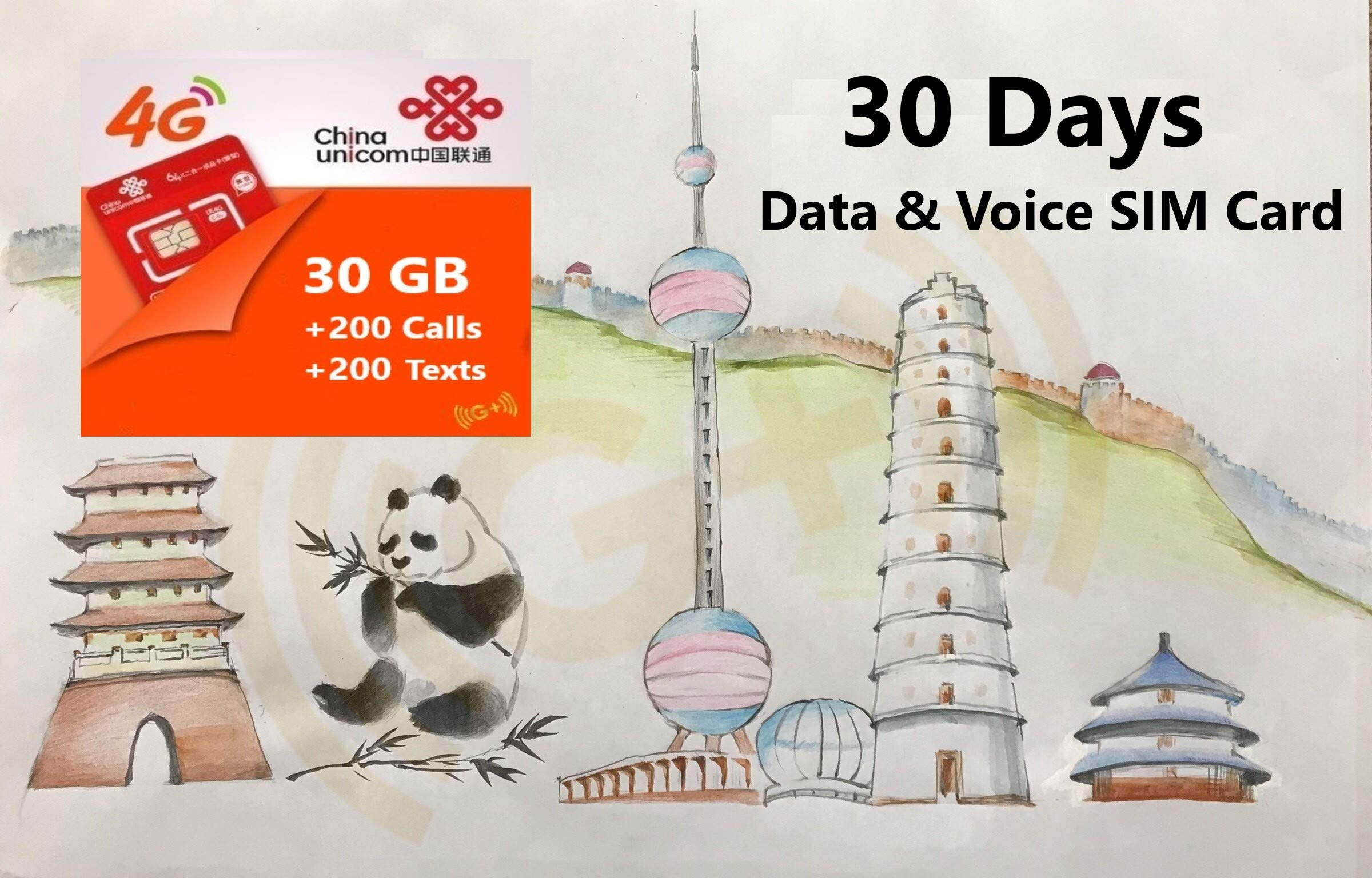 China 4G LTE Voice and Data Prepaid SIM Card with Chinese Phone Number, 30GB Data, 200 Minutes Talking, 200 Texts. NO Contract, Plug and Play by G Plus Global