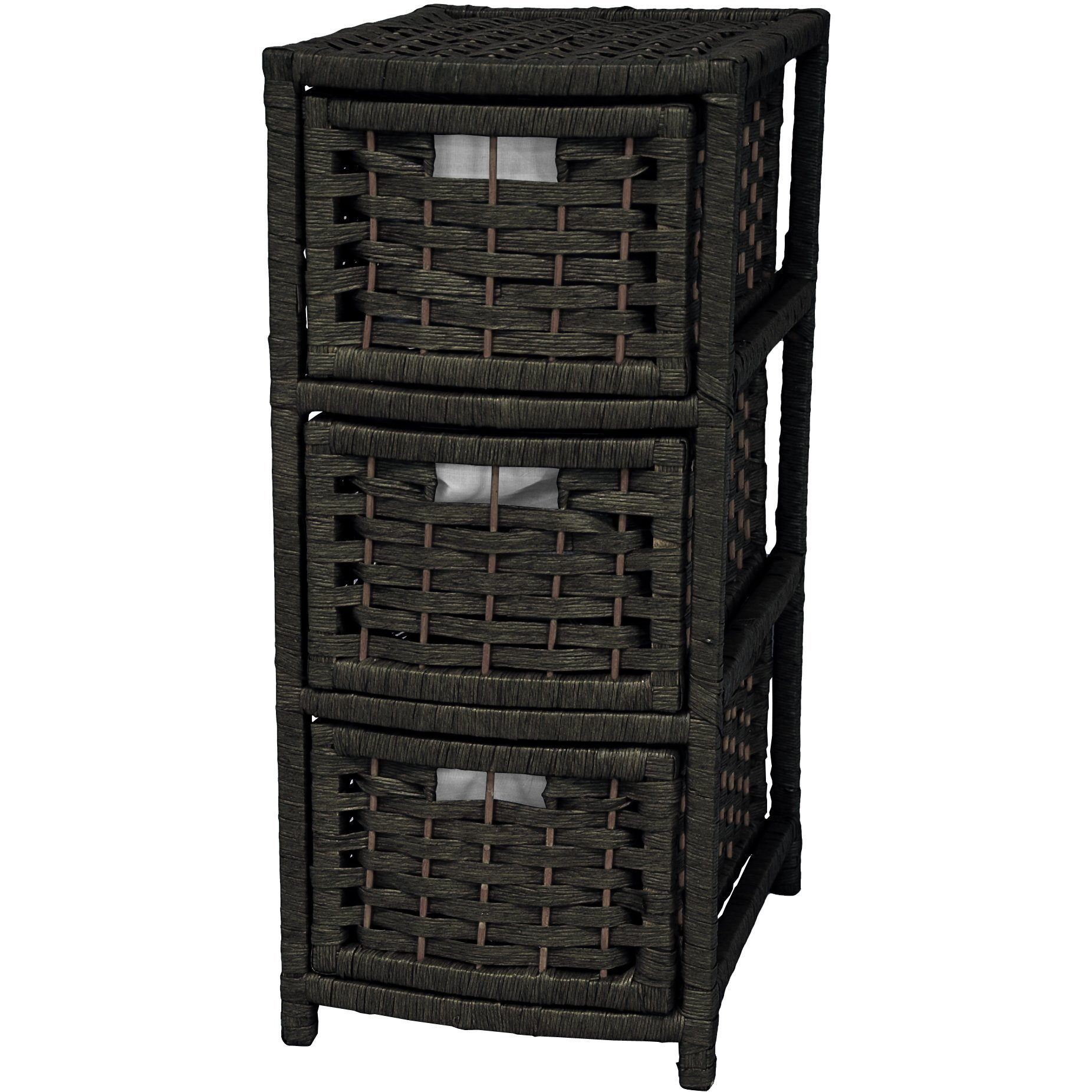 Oriental Furniture 25'' Natural Fiber Occasional Chest of Drawers - Black