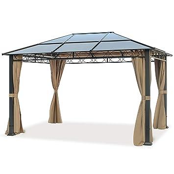 new concept f2be0 0dbbe TOOLPORT Pavillon de Jardin Pavillon ALU Deluxe imperméable de 3x4 m avec  Tente de réception à 4 côtés en Toit en PC translucide Bronze