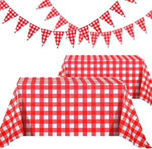 2 Pieces 51 x 71 Inch Red Buffalo Plaid Checkered Plastic Rectangle Table Cover with 2 Pack 26 ft Large Plastic Triangle Pennant Banner for Picnic Birthday Party Decoration (30 x 45 cm, Red and White)