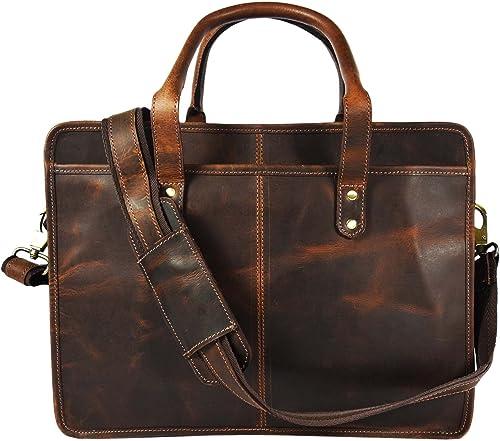 Buffalo Leather Briefcase Messenger Bag 17 Inch Laptop Satchel Shoulder Bags, Hickory Brown