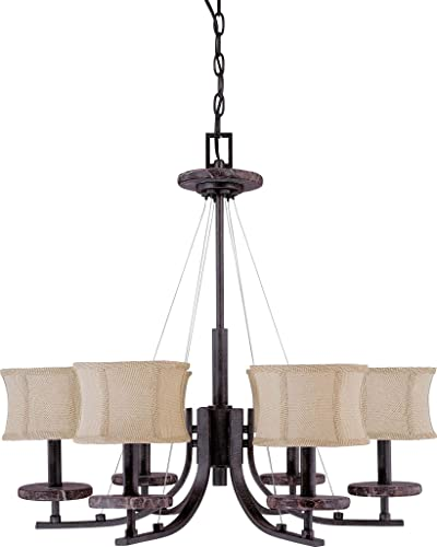 Nuvo 60 1442 6 Light Chandelier with Carmel Houndstooth Fabric Shades