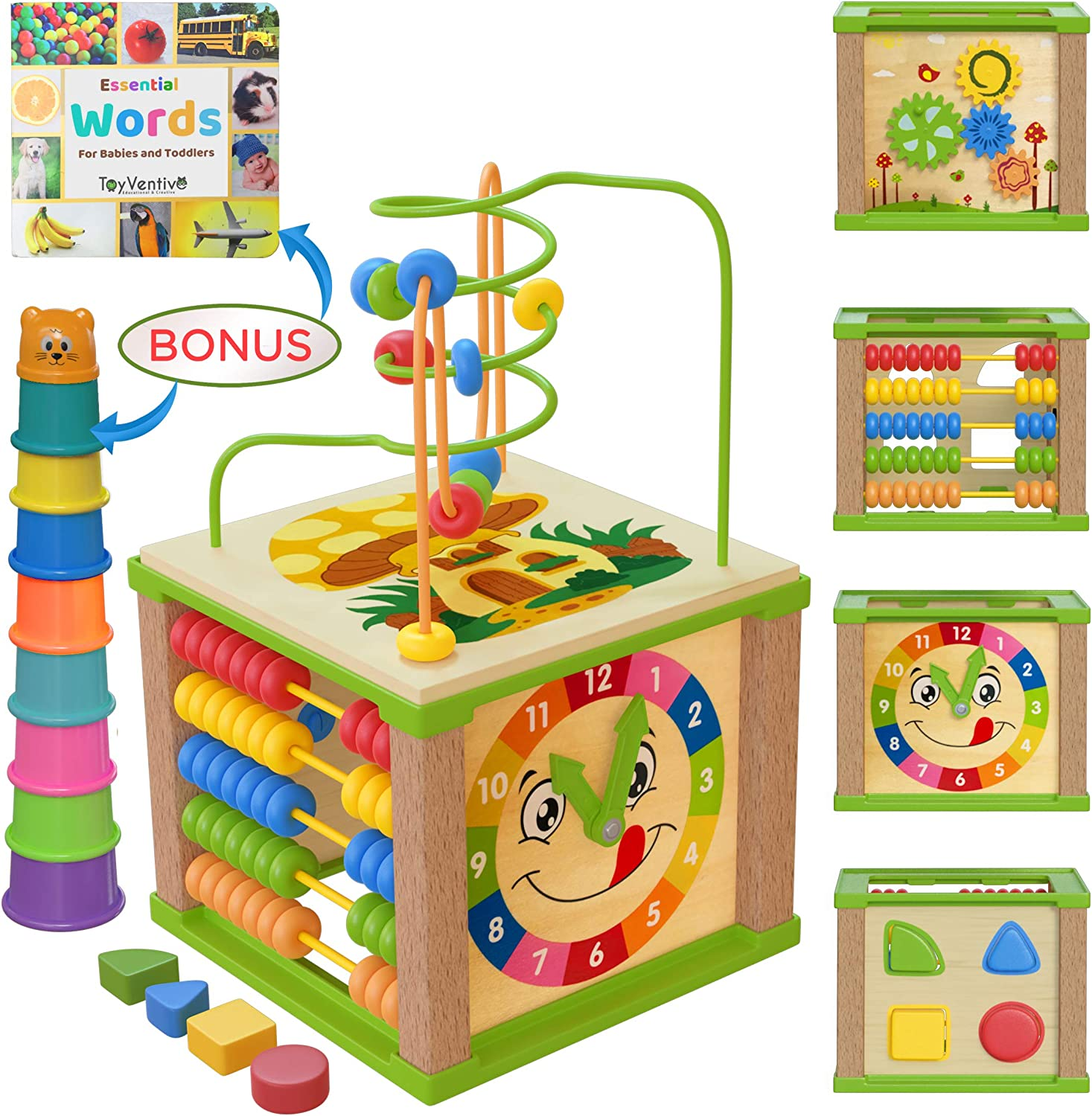 Amazon Com Toyventive Wooden Kids Baby Activity Cube Boys Gift Set One 1 2 Year Old Boy Gifts Toys Developmental Toddler Educational Learning Boy Toys 12 18 Months Bead Maze