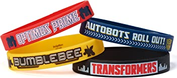 "Amscan Mighty Transformers Birthday Party Rubber Bracelet Favour, Pack Of 4, Multi, 2"" X"", Rubber"