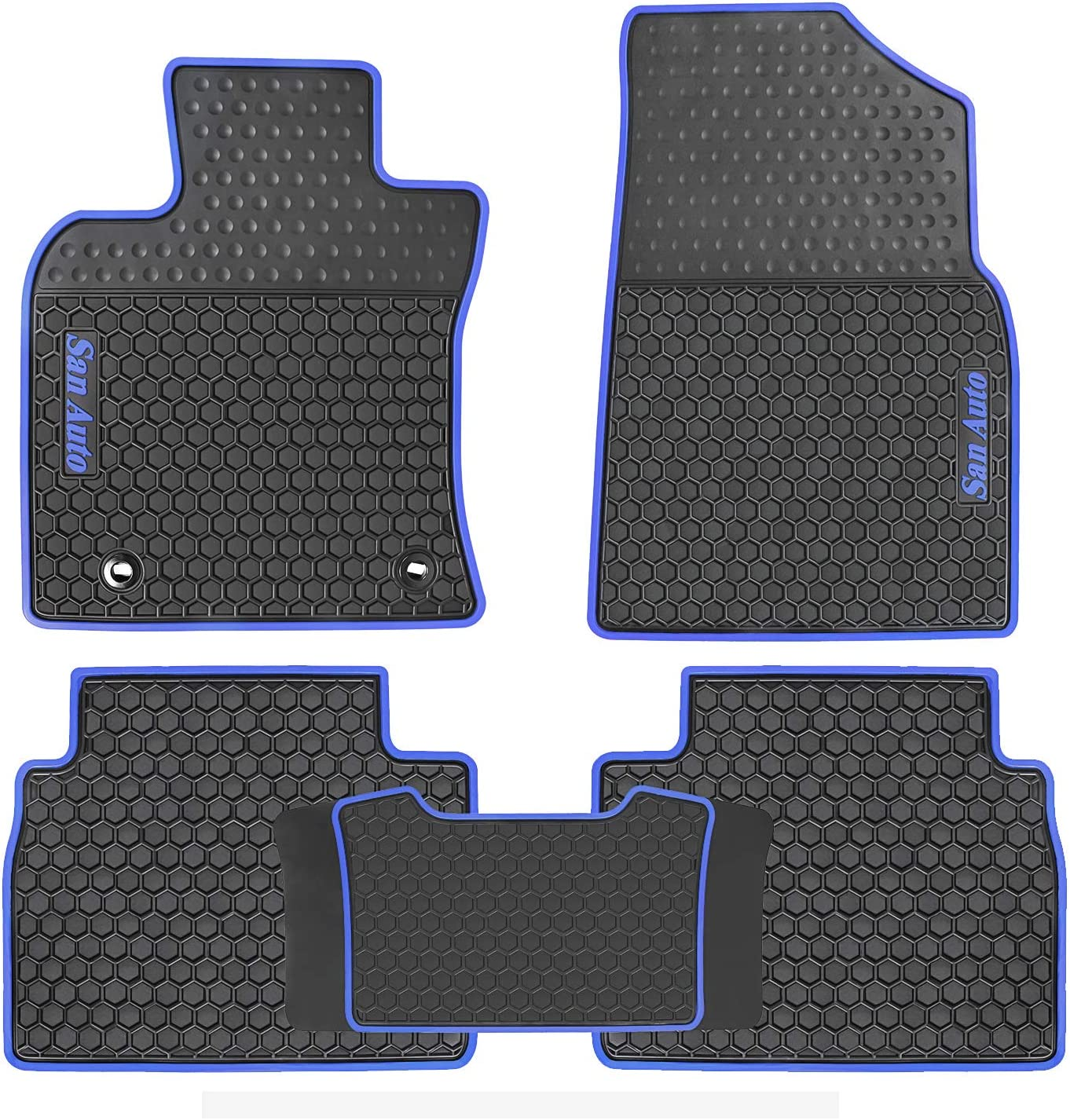 San Auto Car Floor Mats for Toyota Camry 7th 2012 2013 2014 2015 2016 2017 Custom Fit Auto Front and Rear Rubber Carpet Floor Liners Set All Weather Protection Heavy Duty Odorless Black with Blue Edge