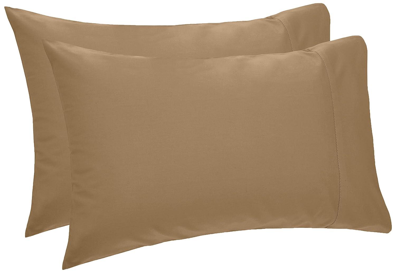 Pinzon 400-Thread-Count Hemstitch Egyptian Cotton Pillowcases - King, Chestnut (Set of 2)